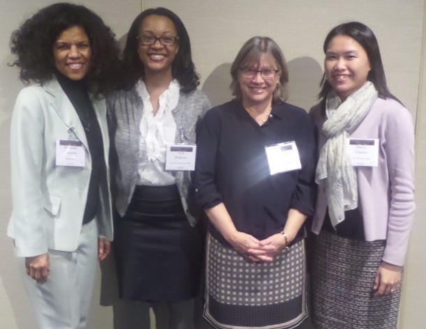 The University of Texas Deparmtent of History family (from left to right): me, Jacqueline Jones, Chair of the Department and former AHA President, Shery Chanis