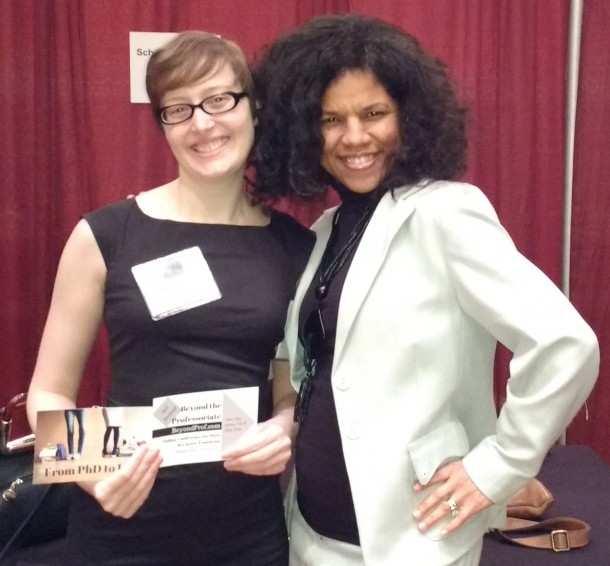 Jennifer Polk of Ph.D. to Life and I strike a pose at the AHA Career Fair